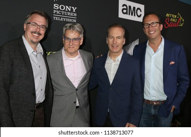 """SAN DIEGO - JUL 19:  Vince Gilligan, Peter Gould, Bob Odenkirk, Charlie Collier at the AMC's """"Better Call Saul"""" Season 4 Premiere on the Horton Plaza 8 on July 19, 2018 in San Diego, CA"""