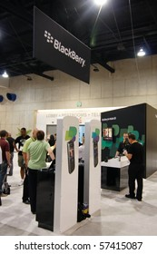 SAN DIEGO - JULY 14: Blackberry booth on the trade floor of the ESRI (Environmental Systems Research Institute) user conference. July 14, 2010 in San Diego California
