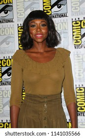 """SAN DIEGO - July 21:  Amanda Warren at the """"The Purge"""" Press Line at the Comic-Con International on July 21, 2018 in San Diego, CA"""