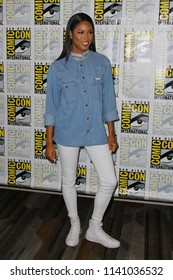 """SAN DIEGO - July 21:  Lex Scott Davis at the """"The Purge"""" Press Line at the Comic-Con International on July 21, 2018 in San Diego, CA"""