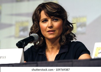 SAN DIEGO - JULY 22: Lucy Lawless at the Spartacus panel at the 2011 San Diego Comic-Con in San Diego, CA on July 22, 2011.
