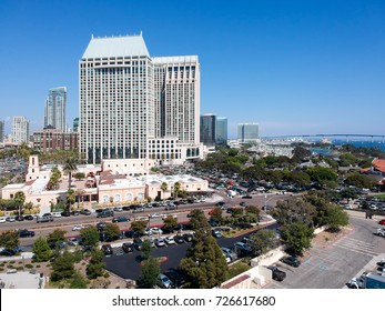 SAN DIEGO - JULY 30, 2017: Panoramic aerial city view. San Diego attracts 20 million tourists annually.