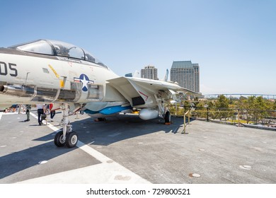 SAN DIEGO - JULY 30, 2017: The historic aircraft carrier, USS Midway commissioned after World War II, now a museum moored in Downtown San Diego.