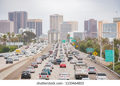San Diego, JUN 29: Aerial view of the highway and downtown on JUN 29, 2018 at San Diego, California