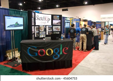 SAN DIEGO, JUNE 18:  Google booth features SketchUp at the ESRI international user conference June 18, 2007 in San Deigo California. It is  the biggest GIS conference worldwide.