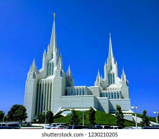 San Diego LDS Temple with Blue Sky