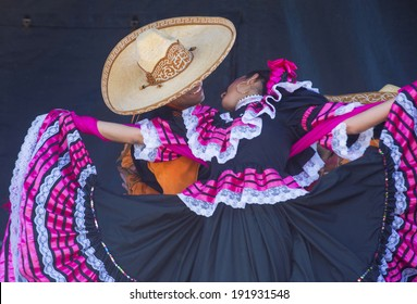SAN DIEGO - MAY 03 : Dancers Participates at the Cinco De Mayo festival in San Diego CA . on May 3, 2014. Cinco De Mayo Celebrates Mexico's victory over the French on May 5, 1862.