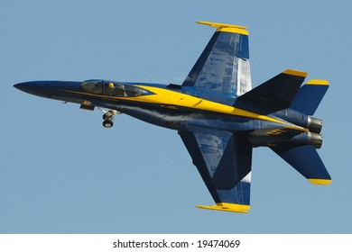 SAN DIEGO - OCT 5: Blue Angels F/A-18 Hornet performing during the 2008 MCAS Miramar Air Show.