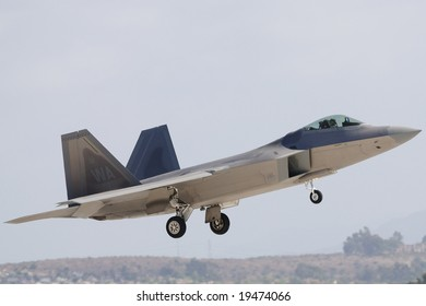 SAN DIEGO - OCT 5: F-22 Raptor landing after performing Heritage Flight during the 2008 MCAS Miramar Air Show.