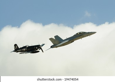 SAN DIEGO - OCT 5: F4U Corsair and F/A-18 Hornet performing Legacy Flight at the 2008 MCAS Miramar Air Show.