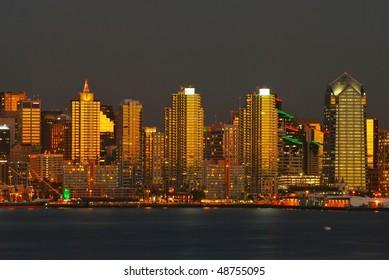 San Diego panorama at sunset