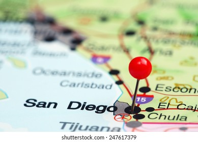 San Diego pinned on a map of USA