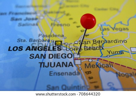 San Diego Map City.San Diego Pinned On Map City Stock Photo Edit Now 708644320
