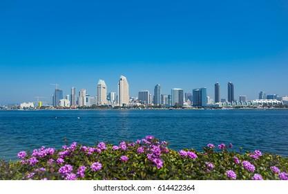 San Diego skyline with blue sky