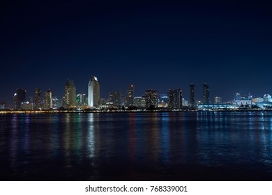 San Diego skyline during sunset and the golden hour