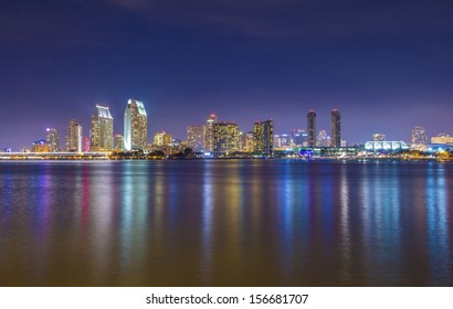 San Diego skyline at night as seen from coronado peninsula