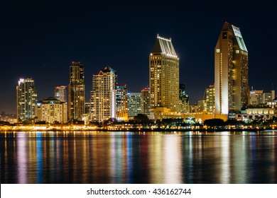 The San Diego skyline at night, seen from Centennial Park, in Coronado, California.