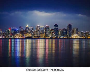 San Diego Skyline, Night, Water Reflections