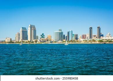 The San Diego skyline seen from Centennial Park, in Coronado, California.