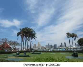San Diego skyline as seen from Coronado  Ferry Landing, Coronado Island, California