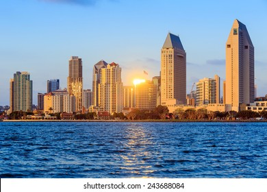 San Diego skyline at sunset, CA