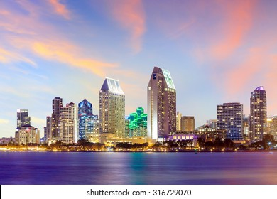 San Diego skyline at sunset, CA USA