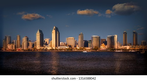 San Diego skyline at sunset from Coronado Island