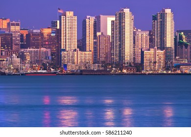 San Diego skyline viewed from north, at sunset