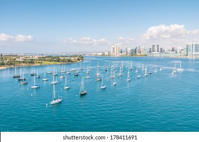 San Diego skyline and Waterfront with sailing Boats