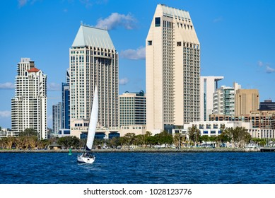 San Diego Skyline and yacht