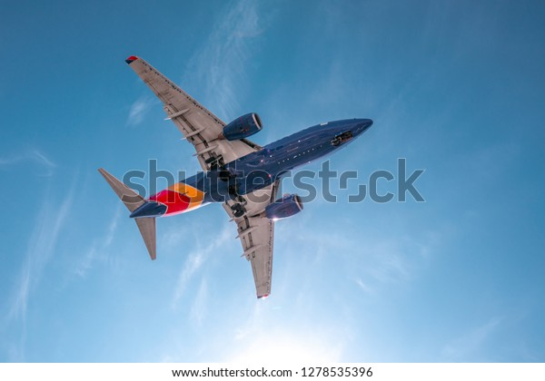 San Diego, USA, 2018. Aviation, travel, air transportation concept. Southwest airlines airplane in blue sky