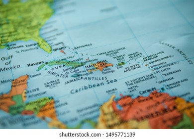 San Diego, USA, 2019. Haiti and Dominican Republic on a map. Selective focus on label. Closeup shot