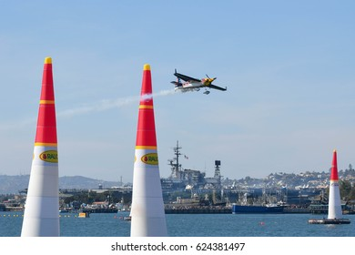 San Diego, USA - April 16, 2017:  Kirby Chambliss of USA performs during Red Bull Air Race performs during the Red Bull Air Race World Championship.