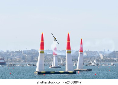 San Diego, USA - April 16, 2017: Kirby Chambliss of USA performs during the Red Bull Air Race World Championship.