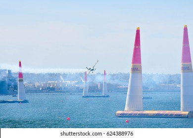 San Diego, USA - April 16, 2017: Matthias Dolderer of German performs during Red Bull Air Race performs during the Red Bull Air Race World Championship.