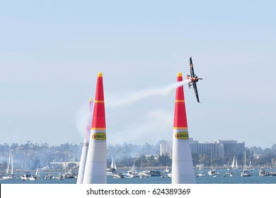 San Diego, USA - April 16, 2017:  Nicolas Ivanoff of France performs during Red Bull Air Race performs during the Red Bull Air Race World Championship.