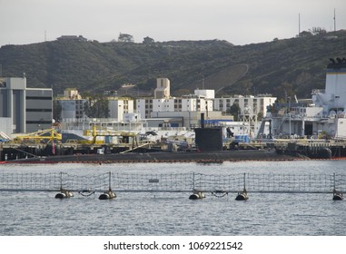 SAN DIEGO, USA - APRIL 2, 2018: Los Angeles-class nuclear submarine in Point Loma, California, USA