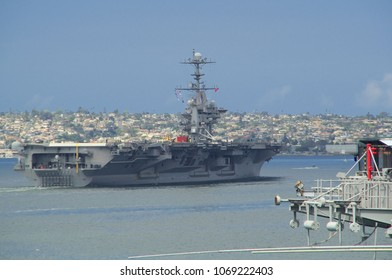 SAN DIEGO, USA - APRIL 3, 2018: US navy aircraft carrier John C. Stennis (CVN-74), Nimitz-class nuclear powered supercarrier, California, USA