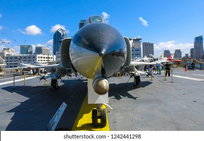 San Diego, USA, Circa 2014: Warplane close up from the front of it.