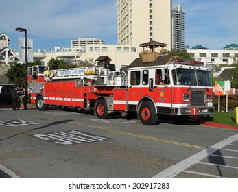 San Diego, USA - February 5, 2011: A fire engine of the San Diego Fire Department parked after responding to a 911 call at seaport village.