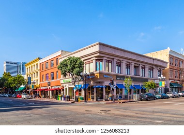 SAN DIEGO, USA - JUN 11, 2012: facade of historic houses in the gaslamp quarter  in San Diego, USA. The area is a historic district on the National Register of Historic Places and dates back to 1867.