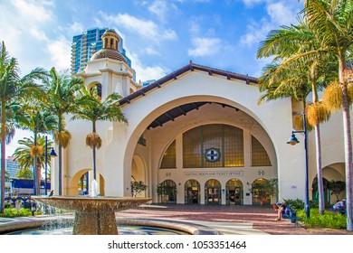 SAN DIEGO, USA - JUNE 11, 2012: famous Union Station in San Diego, USA. The Spanish Colonial Revival style station opened on March 8, 1915 as Santa Fe Depot.