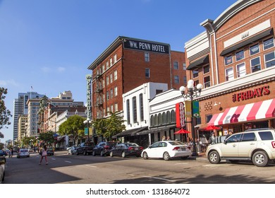 SAN DIEGO, USA - JUNE 11: facade of historic house in the gaslamp quarter on June 11, 2012 in San Diego, USA. The area is a historic district on the Register of Historic Places and dates back to 1867.