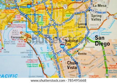 San Diego USA Map Stock Photo (Edit Now) 785495668 - Shutterstock