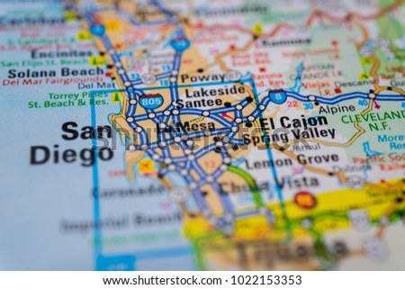 San Diego USA Map Background Stock Photo (Edit Now) 1022153353 ...