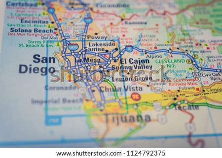 San Diego USA Map Background Stock Photo (Edit Now) 1124792375 ...