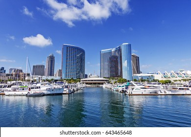 SAN DIEGO, USA - May 14, 2017: Marriott Marina and Convention Center at San Diego Bay.