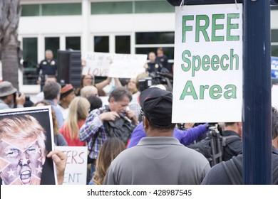 SAN DIEGO, USA - MAY 27, 2016: A sign marks the designated free speech area at a protest outside a Trump rally held at the San Diego Convention Center.