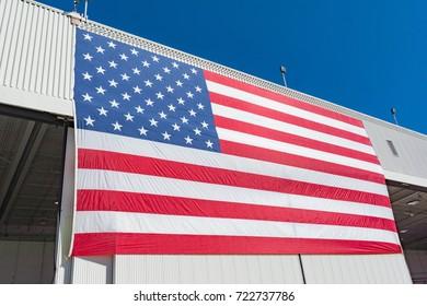 San Diego, USA - September 24, 2017: Large American flag at the Miramar Air Show, MCAS Marine Corps Air Station, CA.