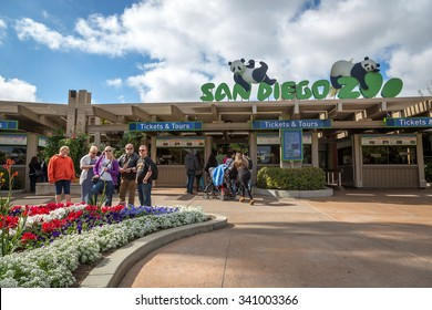San Diego Zoo, California - February 15th 2014 - Tourists and locals just in front the main entrance of San Diego Zoo in California, USA.